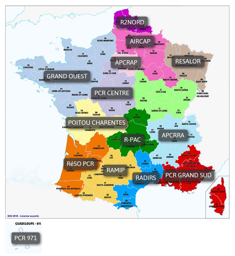 Carte des réseaux CoRPAR
