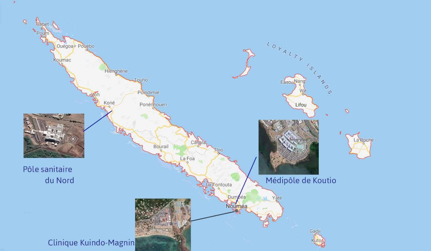 carte de nouvelle caledonie avec les centres de santé